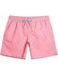 bf47d745f MaaMgic Mens Quick Dry Swim Trunks with Mesh Lining Flamingo Boardshorts