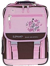 Preisvergleich für ELEPHANT Select Schulrucksack FLORA Schulranzen Ranzen Schultasche Schmetterling mit REGENHÜLLE // ROSA BRAUN