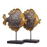 Baijdery Dekoration Skulptur Handgemachter Moderner Antiker Dekorationsfisch, Fernsehschrank, Weinkabinett, Inneneinrichtung