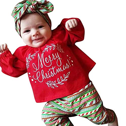 Huihong Baby Mädchen 3 Stück Frohe Weihnachten Kostüm Set Brief Drucken T Shirt Tops + Hosen + Bogen Stirnbänder (Rot, 2-3 Jahre/110) - Top 3 Bogen