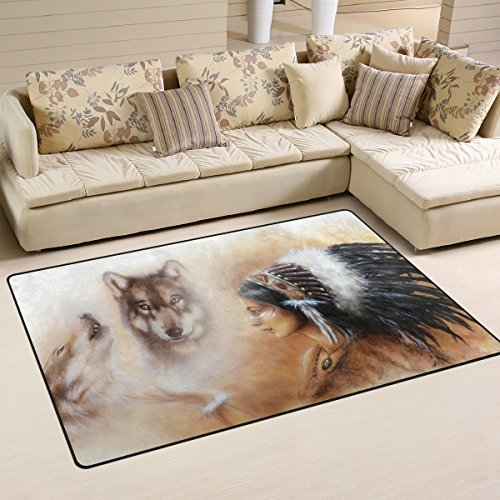 INGBAGS Super Soft Modern Indian Woman Wolf Area Rugs Living Room Carpet Bedroom Rug for Children Play Solid Home Decorator Floor Rug and Carpets 31 x 20 Inch