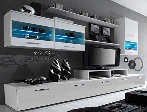 SelectionHome - Mueble salón Comedor Moderno con Leds, Acabado en Blanco Mate y Blanco Brillo Lacado, Medidas: 250x194x42 cm de Fondo