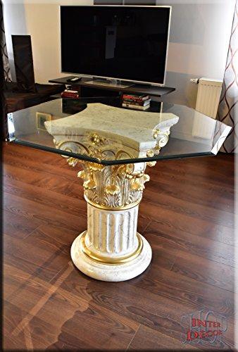 InterDecorShop Griechischer Esstisch Wohnzimmertisch Tisch Glastisch Marmor Optik Säule Antik 97cm -