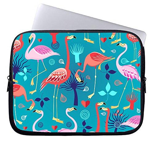Okoukiu Fenicotteri rosa su sfondo blu la cerniera in neoprene per computer portatile ventiquattrore borsetta manica custodia borsa per notebook laptop Chromebook & MacBook Air #1 13-13.8 inches