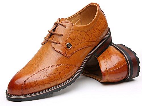 Anlarach Hommes Cuir D'affaires Décontractées De Marche Oxford Chaussures Chaussons Marron