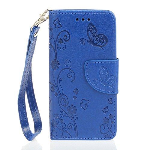 Cozy Hut Per iPhone 6 6S (4,7 Zoll) rosso Custodia , Retro fiori e farfalle Modello Design Con Cinturino da Polso Magnetico Snap-on Book style Internamente Silicone TPU Custodie Case in pelle Protetti blu
