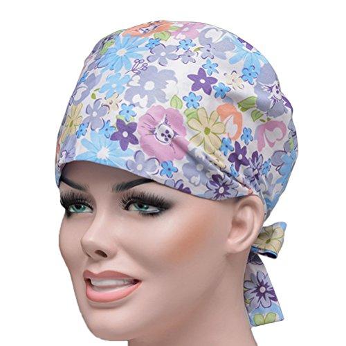 OULII Unisex Krankenschwester Doktor Cap Blume Gedruckt Einstellbare Scrub Hat Kostüm Cap (Scrubs Kostüm Krankenschwester)