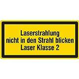 Warnzeichen - Laserstrahlung nicht in den Strahl blicken Laser Klasse 2-38 x 19 mm - 100 Warnschilder aus Vinyl Folie, gelb, permanent haftend