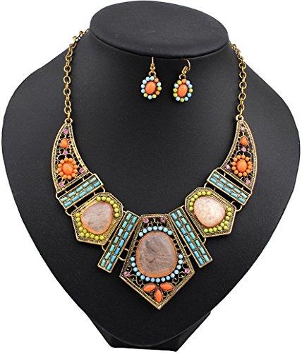 Kette Schmuck Halskette Damen DAY.LIN Vintage Blume Crystal Bubble Frauen Halskette Ohrringe Set