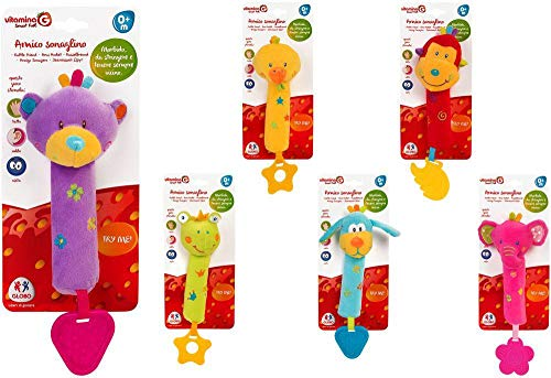 GLOBO, Activity Animal Plush Rattle W/BB Sound 6 Ass. (05140), Multicolor (1)