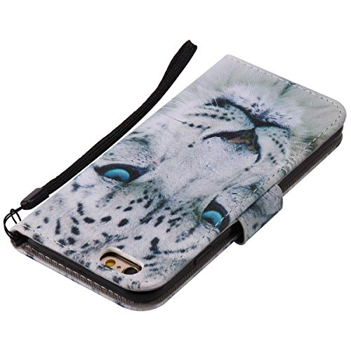 iPhone 6 Plus Hülle,iPhone 6S Plus Hülle,SainCat PU Leder Hülle Brieftasche im BookStyle Wallet Case Lederhülle Folio Schutzhülle Karikatur Muster Ledertasche Hülle Bumper Handytasche Skin Schale Soft Weiß Leopard