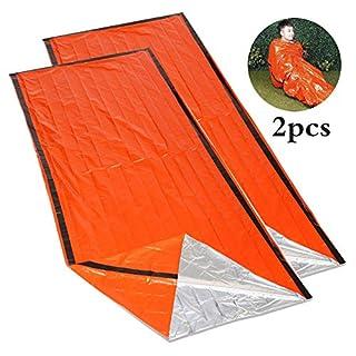RUNACC Notfall Schlafsack Tragbare Erste-Hilfe Schlafsack Ultradünne Bivvy Sack für Outdoor, Camping und Wandern, Orange, Set von 2
