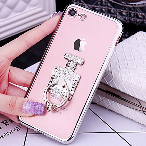 Coque iPhone 6 Plus, iPhone 6S Plus Coque Brillante, SainCat Ultra Slim TPU Silicone Case pour iPhone 6/6S Plus, Bling Bling Glitter Strass Diamant Anti-Scratch Soft Gel Silicone 3D Transparent Silico Argent #2