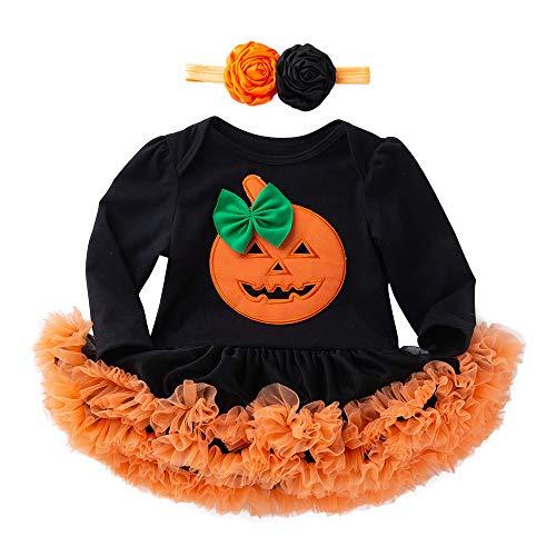 INLLADDY Baby Mädchen Kleid Kürbis Druck Langarm Tutu Halloween Prinzessin Kleid Kostüm Nette Kinder Party Kleid + Haarband Schwarz 12-18 Monate