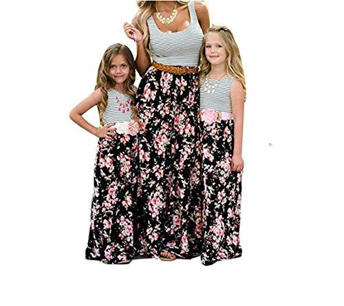 Wide.ling Sommer- Mode Maxi Kleid Beiläufige Familie Kleidung Mädchen Kleid Mutter Und Tochter Beiläufig Boho Ärmelloses Splice Strandkleid (Stripe, 3t) (3t Kleidung)