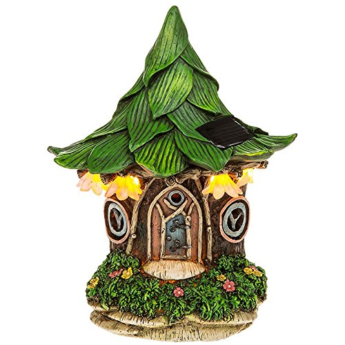 Solar Powered beleuchtet Fairy Leaf Cottage/Dwelling Garten Ornament
