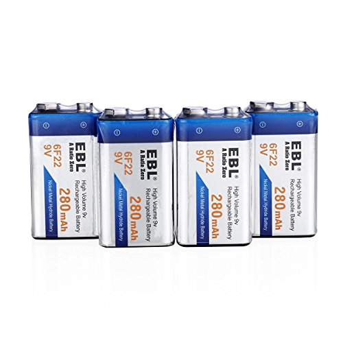EBL 9 Volt PP3 280mAh Rechargeable Batteries, 4 Pack 9V Ni-MH Batteries