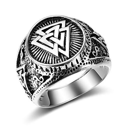 BQZB Ring Vintage Anillo Hombres Vikingo Odin Logo