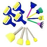 Pro 4Schwamm Malen Rollen Formen Pinsel Set Stempel Blume Schaumstoff Zeichenwerkzeuge für Kinder Kinder Early Learning DIY Art Craft D+E+F