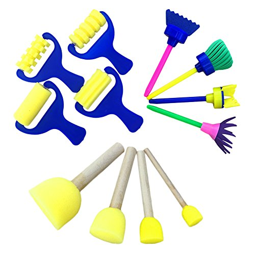 Rollen Formen Pinsel Set Stempel Blume Schaumstoff Zeichenwerkzeuge für Kinder Kinder Early Learning DIY Art Craft D+E+F ()
