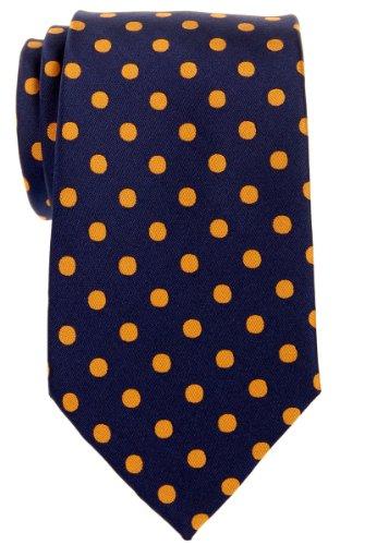 Retreez Cravate en microfibre tissée pour homme Motif à pois Plusieurs coloris au choix Or - Navy Blue with Gold Dots