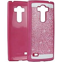 G4 Beat PC Dura, LG G4S Tapa, Asnlove Carcasas y Funda Hard Case, Teléfono Móvil Caja Protectora Dura Colorido Chic Caso, Cover Policardonato Dura Brillo Case Diseño Bling Brillante Protectora Bumper Tapa Trasera para LG G4 Beat-Rosa