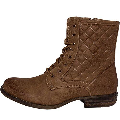 CASPAR - Bottines à lacets classiques pour femme - Boots matelassés à lacets - 3 coloris - SBO037 Marron