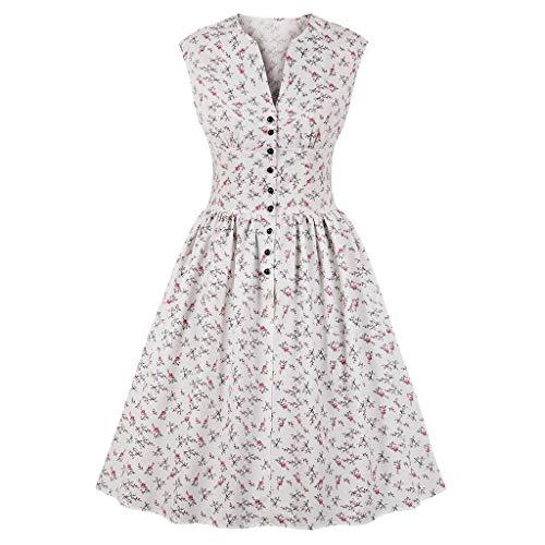 ♥ Loveso♥ 1950er Vintage Retro Rockabilly Kleid Cocktailkleider Blumenmuster V-Ausschnitt Faltenrock Elegant Bekleidung Mit Knopfleiste (Tanz-armreif)