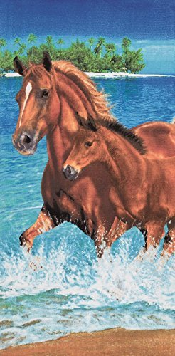 Pferde im Wasser Velours 30x 60Badetuch/Strandtuch -