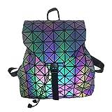Damentaschen Luminous Color-Changing Geometric Bag Farbänderungsgeometrie Backpackwomen Umhängetasche frostedbackpack Geometrie Eimer Typ Rhombischer Rucksack, 35 * 17 * 36 cm