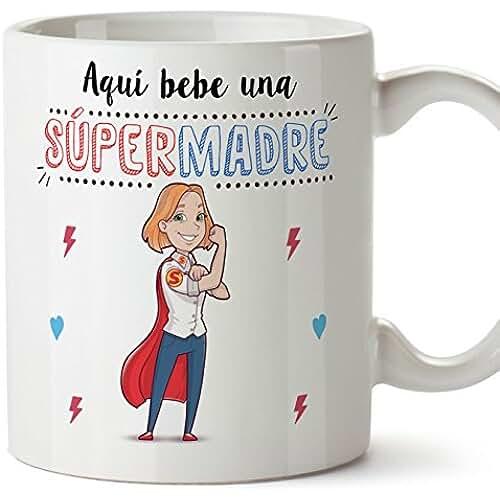 taza del dia de la madre Tazas mama para madres – AQUÍ BEBE UNA SUPER MADRE – Taza desayuno 350 ml idea regalo día de la madre