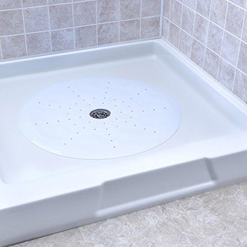 SlipX Solutions Weiße runde Duschkabinenmatte bietet großzügige Abdeckung und zuverlässige Rutschfestigkeit (58 cm Seiten, 160+ Saugnäpfe, große Entwässerung). - Round-hole Grips