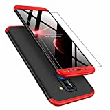 AILZH kompatibel für HandyHülle Samsung Galaxy A6 Plus 2018 Hülle 360 Grad Schutzhülle PC Hartschale Anti-Schock Stoßfänger Cover Case Matte Schutzkasten+Gehärteter Glasfilm(Rot & schwarz)