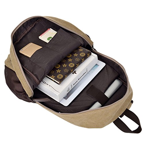 Lässige Leinwand Student Bag Reise Rucksack Laptop Tasche,ArmyGreen Khaki