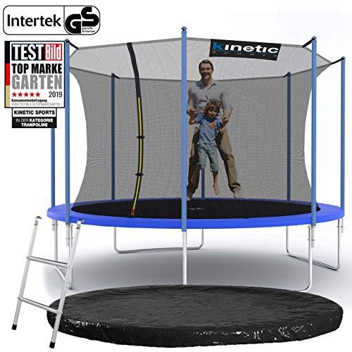 Kinetic Sports Outdoor Gartentrampolin Ø 360 cm, TPLS12, inklusive Sprungtuch aus USA PP-Mesh +Sicherheitsnetz +Rand- u. Regen-Abdeckung +Leiter, bis 150kg, Intertek GS-geprüft, UV-beständig, BLAU