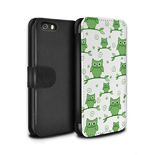 Stuff4 Coque/Etui/Housse Cuir PU Case/Cover pour Apple iPhone SE / Bleu/Blanc Design / Motif Hibou Collection Vert/Blanc