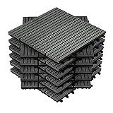 HENGMEI 22x Terrassenfliesen für 2m² WPC 30x30cm Holz-Optik - Balkonfliesen Garten klick-Fliese Anthrazit mit Drainage (22er set,Anthrazit)