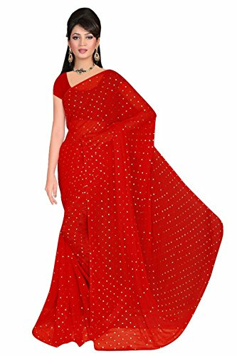 Stylish Sarees Chiffon Saree (Pl 58 Wbp_Cherry Red_Free Size)