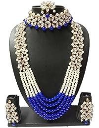 Apsara Art Jewellery Multi Beads Silver Oxidised Chand Bali Kundan With Blue & Off White Pearl & Gold Plated Mangtikka...