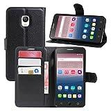 TOOOGOO(R) Premium PU Leder Wallet Flip Tasche Case Cover mit Karten Slot fuer Alcatel One Touch Pop Star 5022D 5.0 Inch Smartphone (Schwarz)
