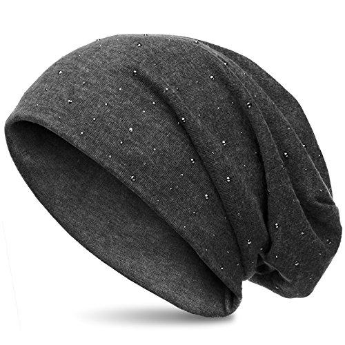 CASPAR MU137 Beanie Mütze mit Strass und warmem Flanell Stoff, Farbe:dunkelgrau (meliert);Größe:One Size