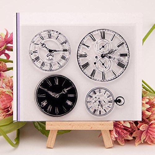 ECMQS Clock DIY Transparente Briefmarke, Silikon Stempel Set, Clear Stamps, Schneiden Schablonen, Bastelei Scrapbooking-Werkzeug
