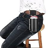 Luxebell Fondina per birra, grill per fondina per birra, cintura per bottiglie di birra, adatta per bottiglie e lattine di birra standard, nero