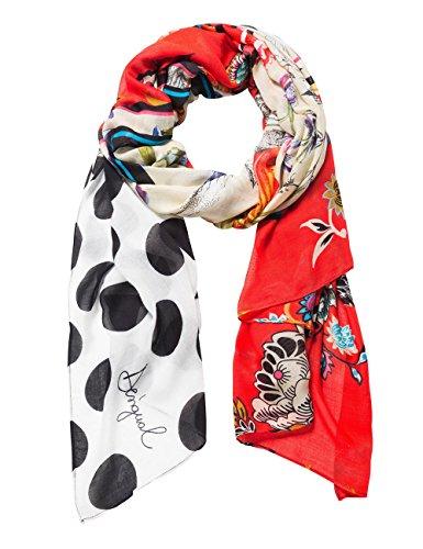 Desigual Damen FOUL_MANUELA PATCH Schal, Rot (Rojo Sangre 3005), One Size (Herstellergröße: U)