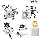 SUPER STICKER Pack 5 pcs Vinilo decorativo pegatina para interruptor - gato, esqueleto, perro, electrocutado, ref:pck2a