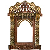 SAARTHI Double Elephant Wooden Single Window Decorative Wooden Rajasthani Jharokha/photoframe With Antique Finish For Wall Decor,Home Decor,Gifts (Size 68x40 Cm)