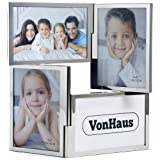 VonHaus 4 Picture Multi Aperture Double Hinged Photo Frame - Ideal for Family Photographs