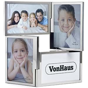vonhaus magnifique cadre photo chrom double charni res de 4 photos avec ouvertures multiples. Black Bedroom Furniture Sets. Home Design Ideas