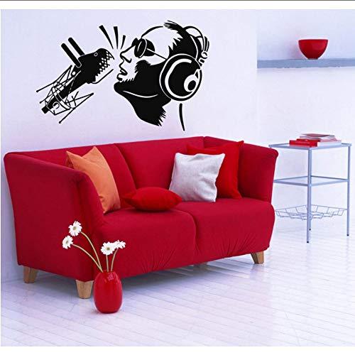Lglays Tatuajes De Pared DeVinilo Calcomanías Cotizaciones Dormitorio Sala De Estar Etiqueta De Arte Murales Decoración Música Singer Auriculares 56 * 87 Cm