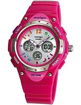 PASNEW Hohe Qualität Wasserdicht 100m Dual Time Unisex Kinder Outdoor Sport Armbanduhr Pink
